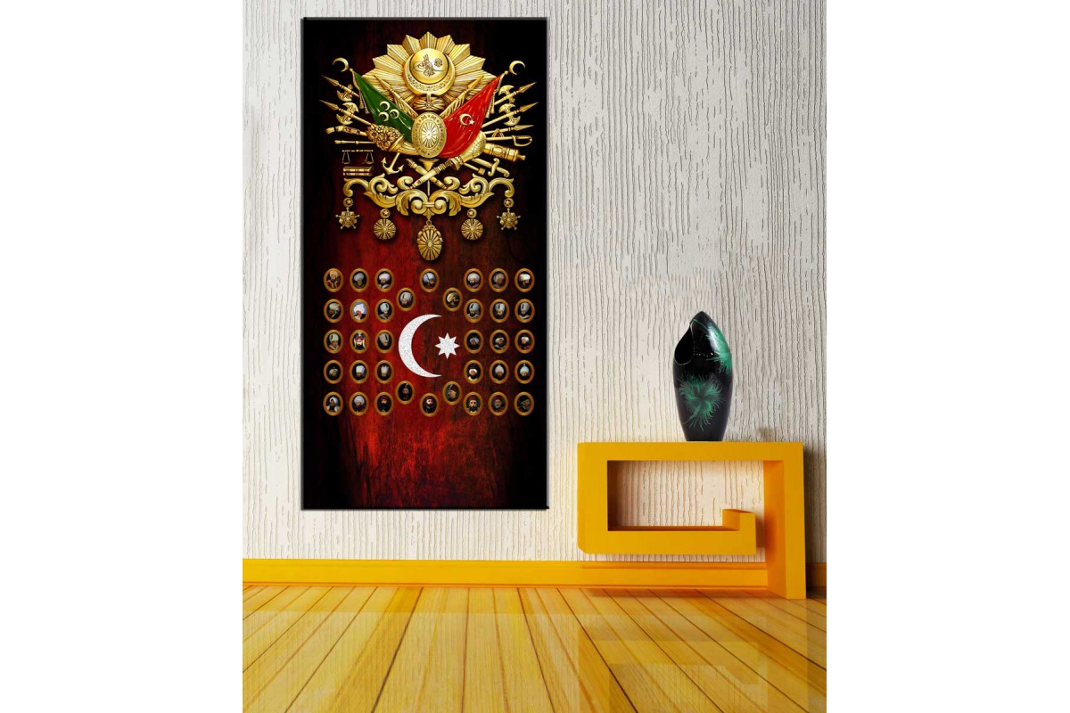 Osmanlı Arma Osmanlı Padişahları Panoramik Tablo dkmpnr08
