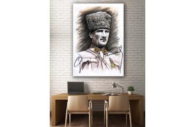 Atatürk Kara Kalem Çalışması Kanvas Tablo dkm-k52-8