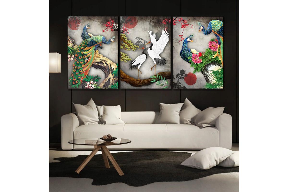 Japon Sanatı Kuşlar Üçlü Kanvas Tablo kslm10