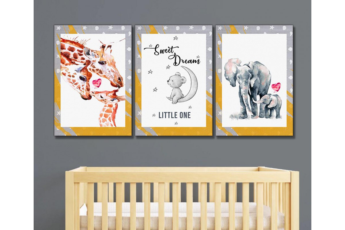 Bebek ve Çocuk Odası Üçlü Kanvas Tablo kslm11