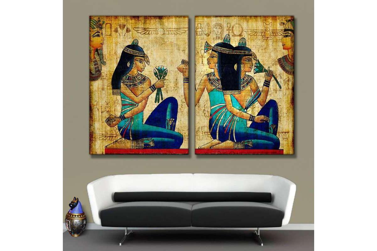 Antik Mısır Kadınlar 2 Parça Kanvas Tablo kslm12