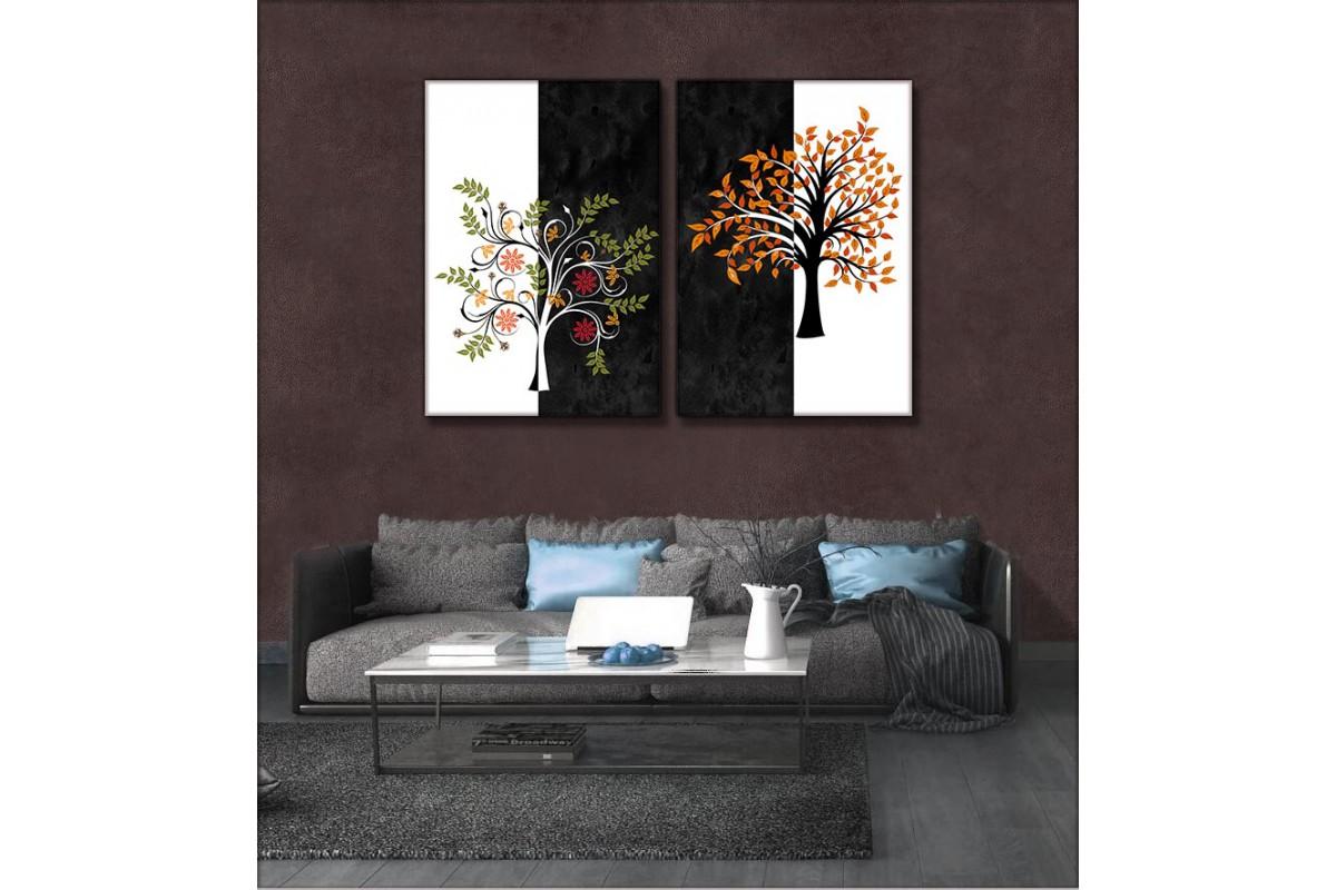Ağaç Dalları Siyah ve Beyaz 2 Parça Kanvas Tablo kslm5