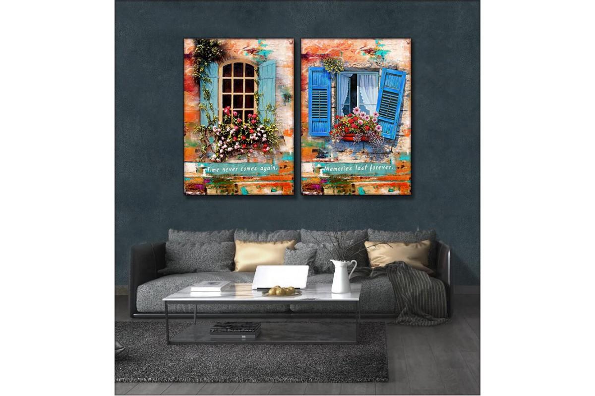 Nostaljik Pencereler 2 Parça Kanvas Tablo kslm7