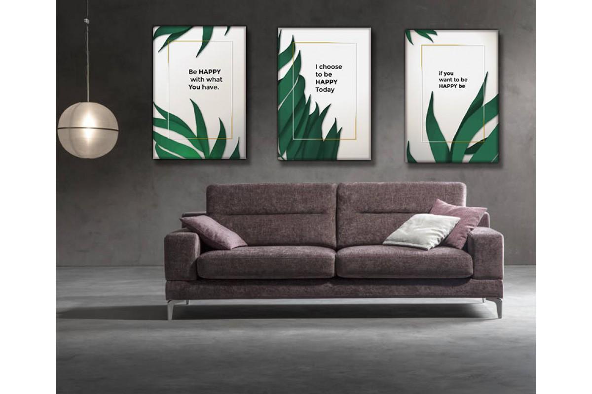 Tropikal Çiçekler Motto Üçlü Kanvas Tablo dkm-kslm8