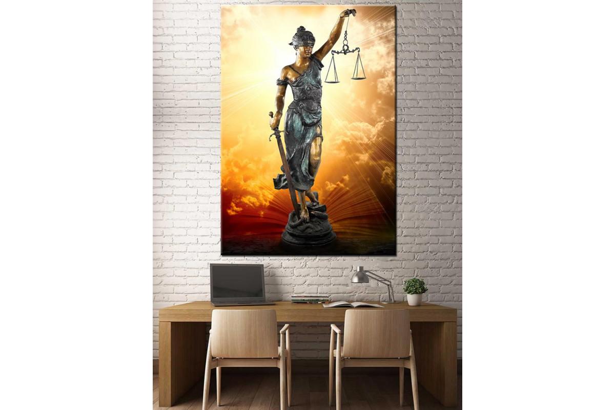 Adalet Kadın Themis Figürlü Hukuk Bürosu İçin Kanvas Tablo slm31