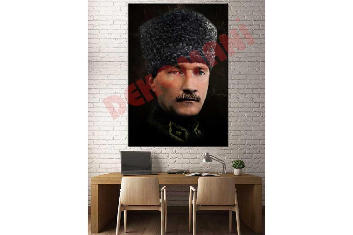 Gazi Mustafa Kemal Atatürk Kalpaklı Kanvas Tablo slm33