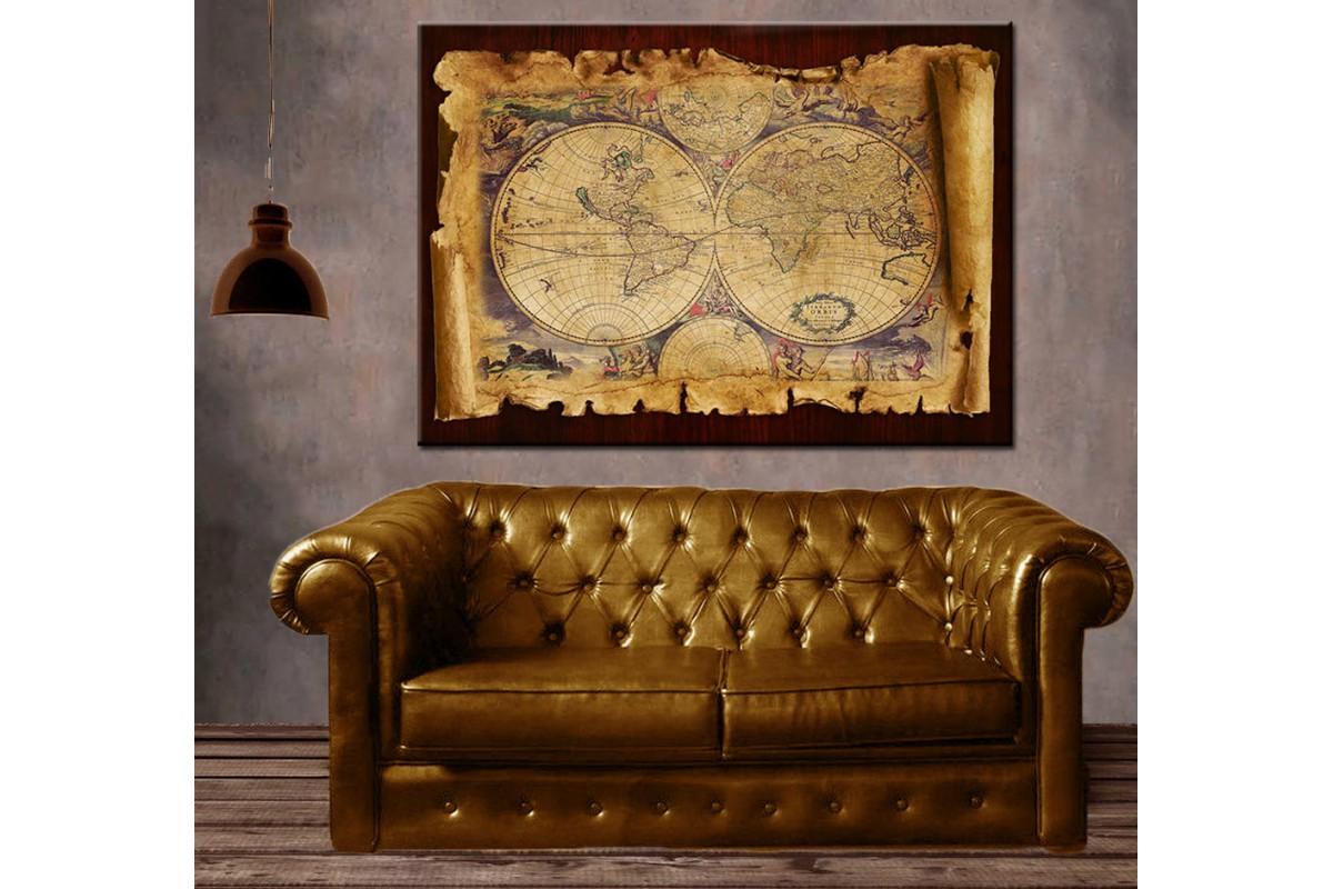 Retro Dünya Haritası Tahta Fon Görünümlü Kanvas Tablo slm35