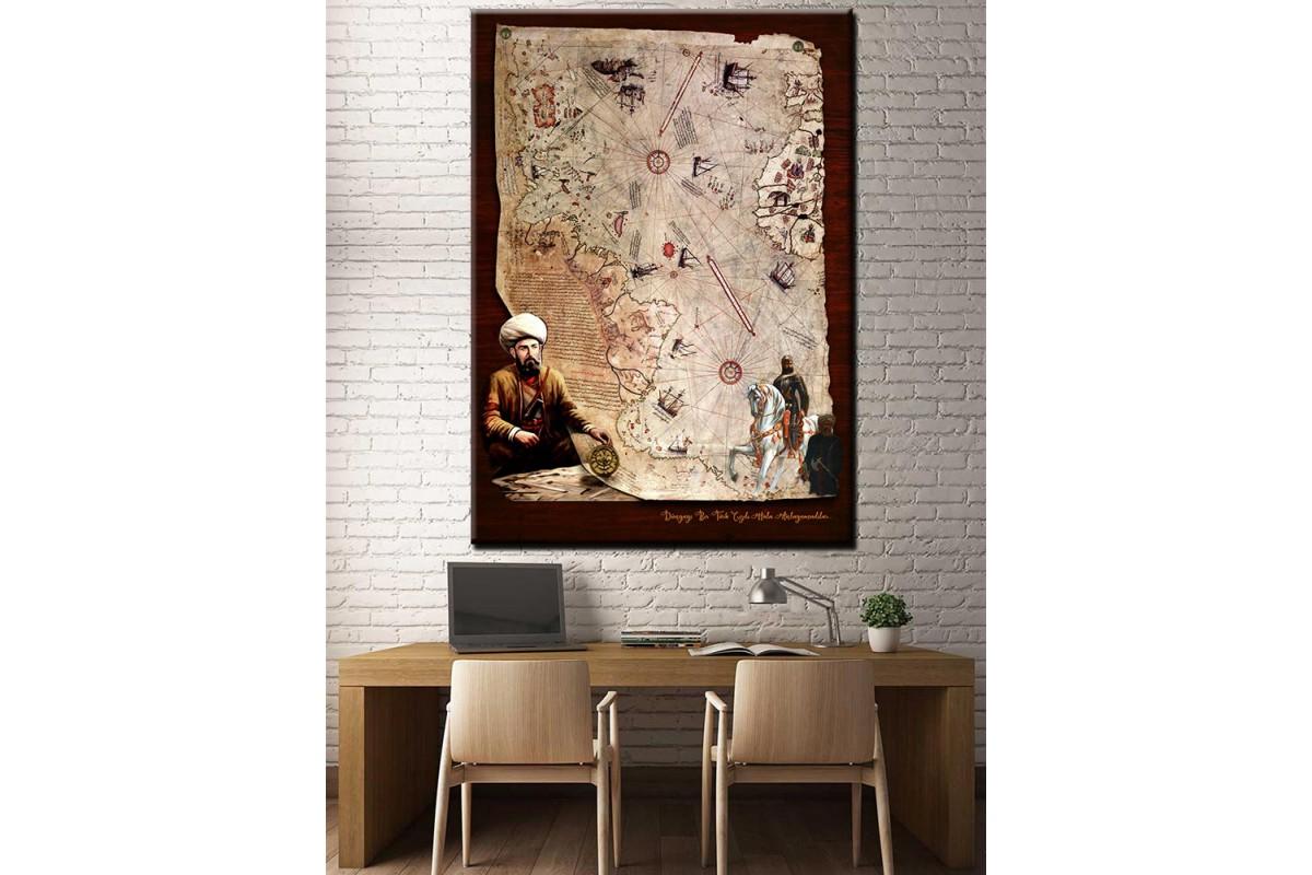 Piri Reis Haritası Fatih Sultan Mehmet Tahta Fon Görünümlü Kanvas Tablo slm37