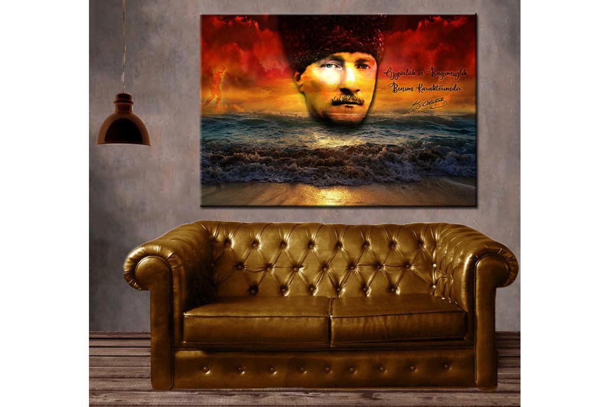 Atatürk  Özgürlük ve Bağımsızlık Benim Karakterimdir Kanvas Tablo slm38