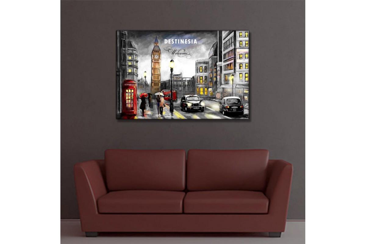 Londra Big Ben Yağlı Boya Görünüm Siyah Beyaz Kanvas Tablo slm41