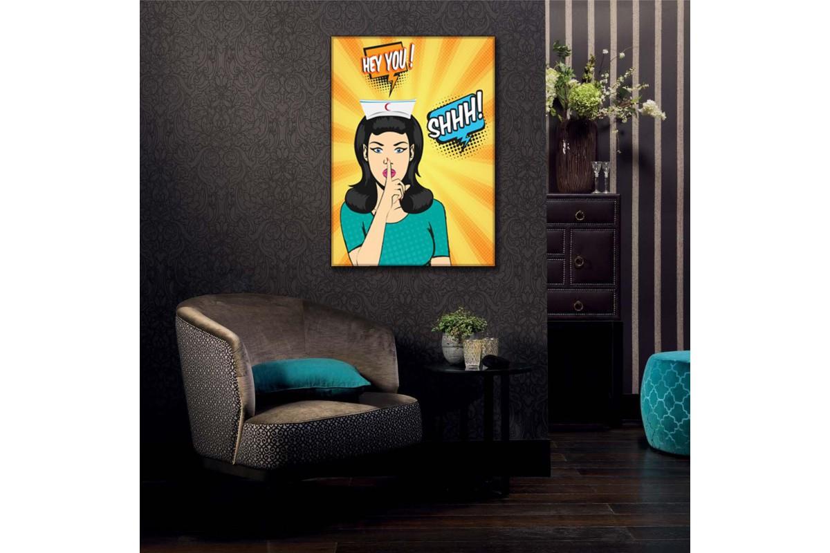 Sus İşareti Yapan Hemşire Pop Art Kanvas Tablo slm43