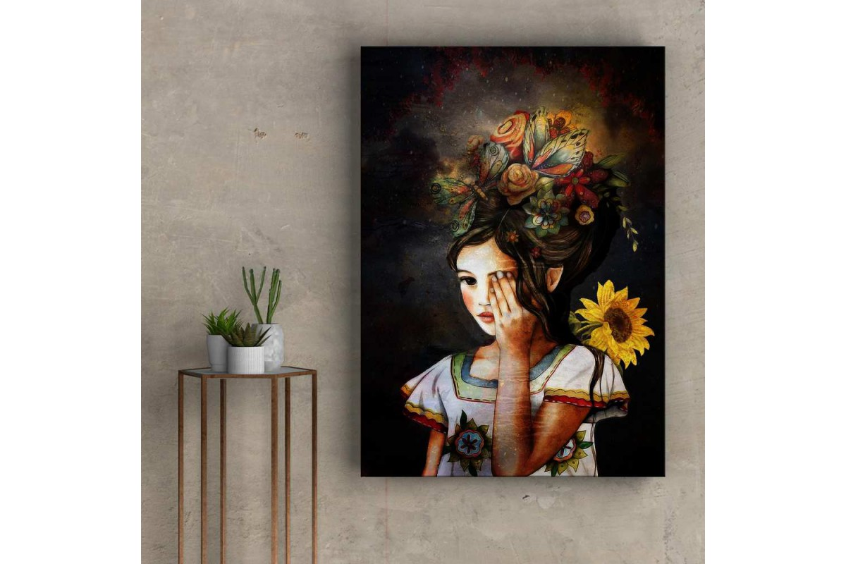 Çiçekli Kız Kanvas Tablo slm67
