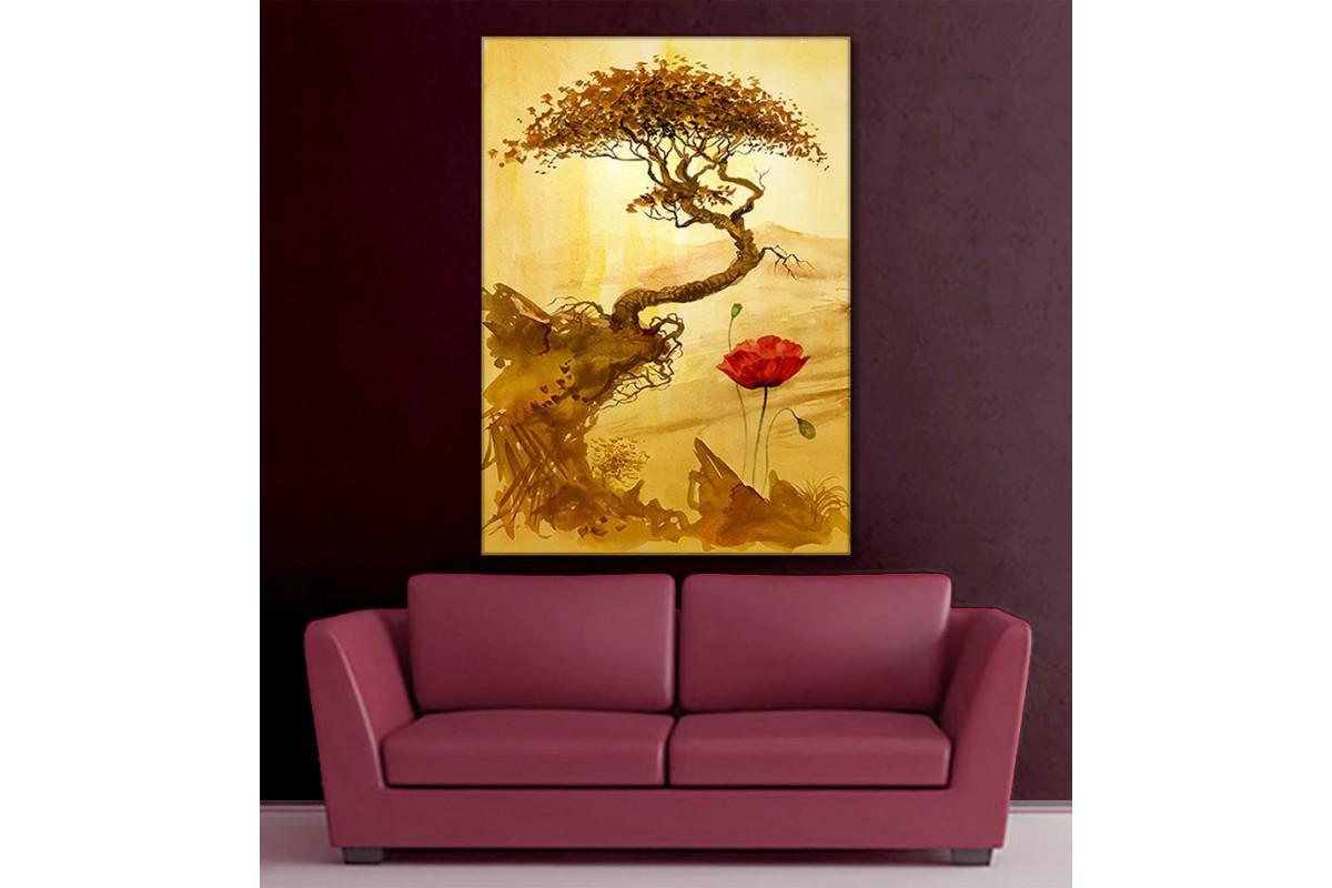 Gelincik ve Ağaç Dekoratif Kanvas Tablo slm84