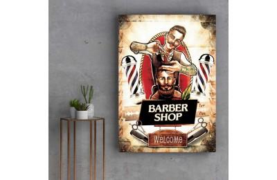 Retro Erkek Berberi Özel Tasarım Kanvas Tablo slm86