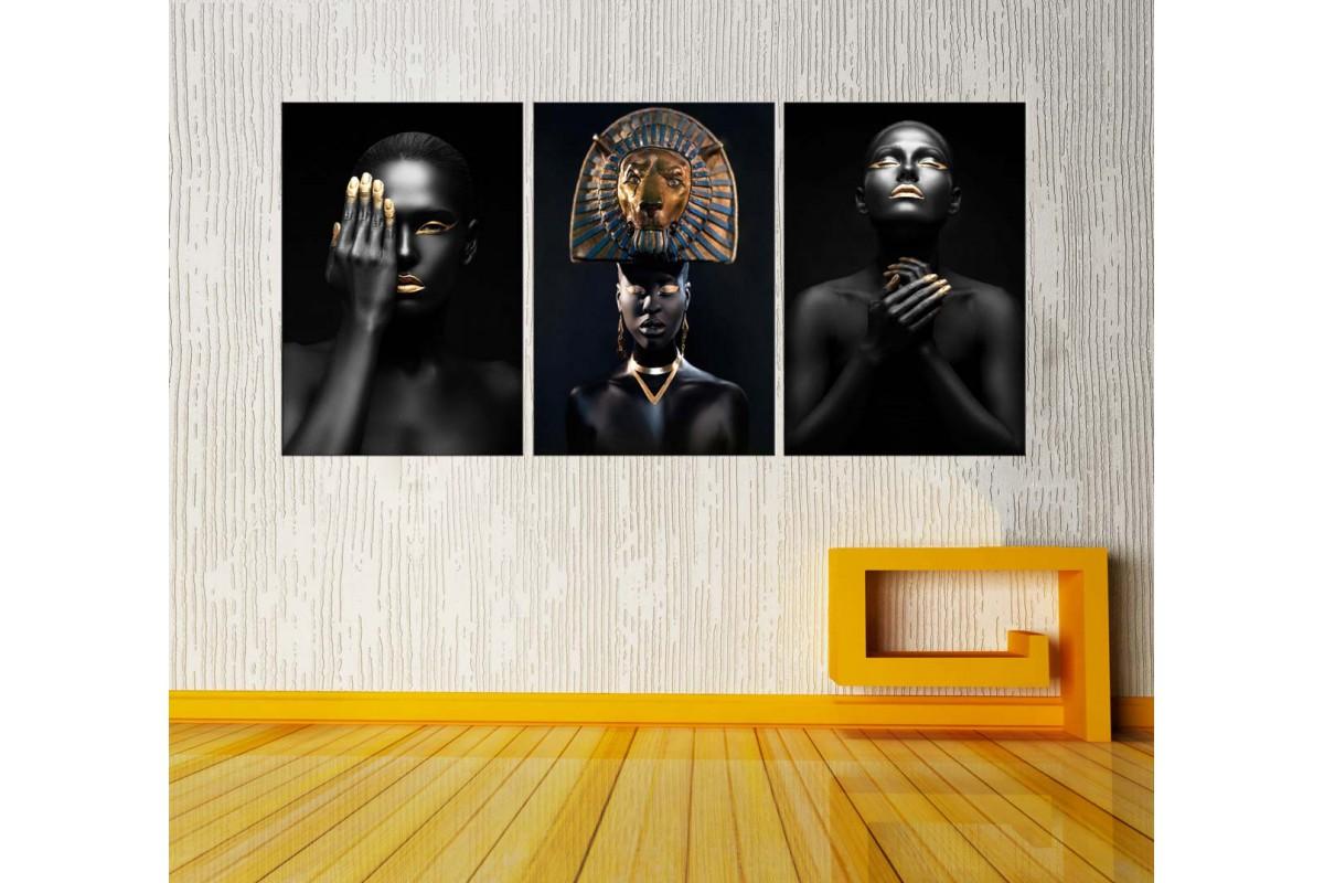 Afrikalı Siyahi Kadınlar Üçlü Kanvas Tablo zk111228