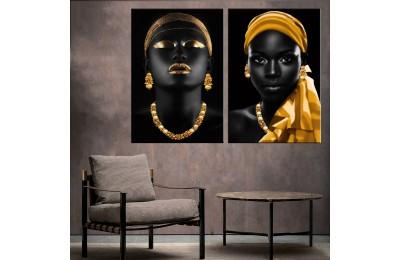 Afrikalı Kadın Altın Renk Ve Eşarplı İkili Konsept Kanvas Tablo zk33-35