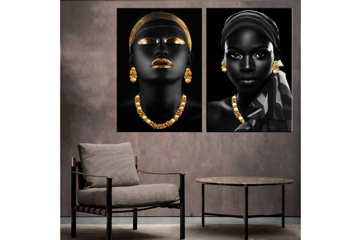 Afrikalı Kadın Altın Ve Siyah Eşarplı İkili Konsept Kanvas Tablo zk33-36